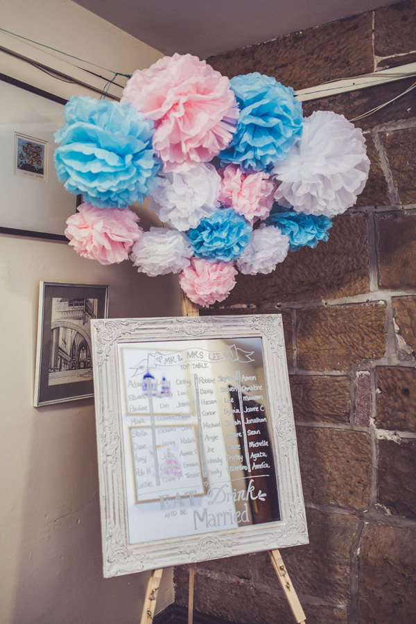 Mirror Pom Pom Seating Table Plan Chart Pink & Blue Alice in Wonderland Wedding http://www.clairepenn.com/
