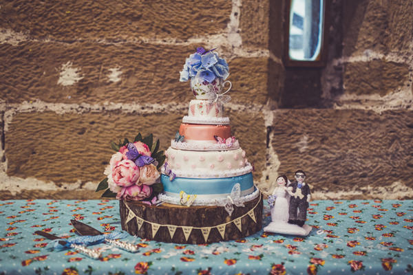 Cake Pink & Blue Alice in Wonderland Wedding http://www.clairepenn.com/