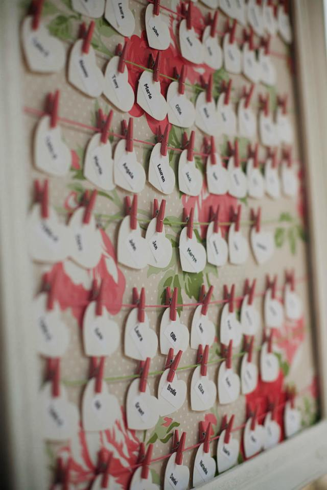 Heart Fabric Pegs Table Seating Plan Chart Pretty Pink Shabby Chic Barn Wedding http://verman.co.uk/