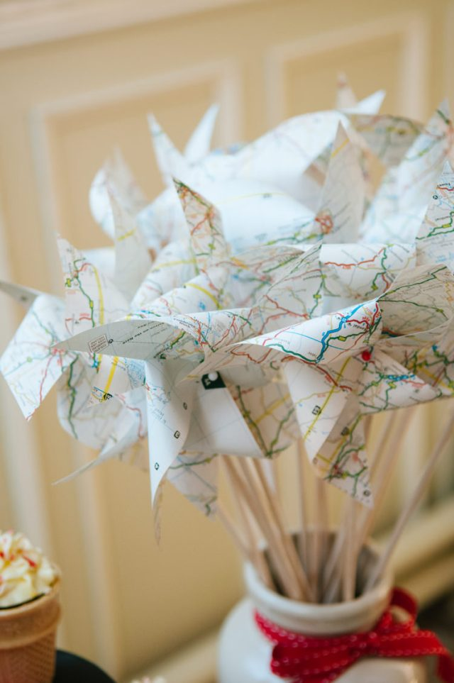 Map Travel Pinwheels Eclectic Vintage Music Party Wedding http://www.theretreat.co/