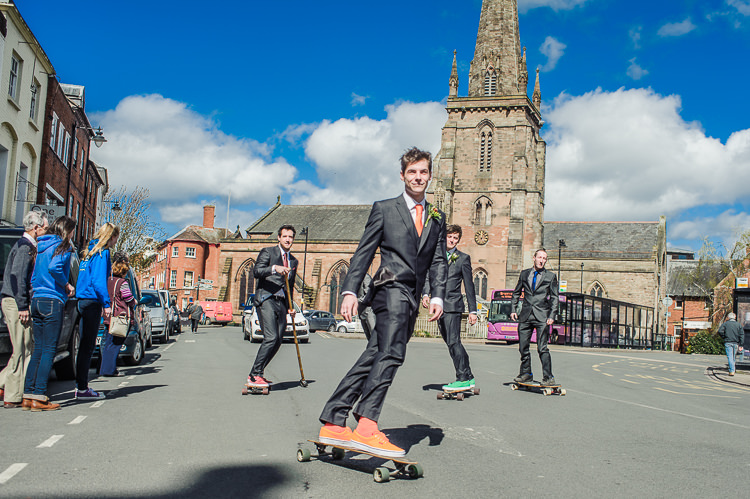 Skateboarding Transport Groom Bright Multicolour DIY Skater Village Hall Herefordshire Wedding http://www.robfarrellphotography.co.uk/
