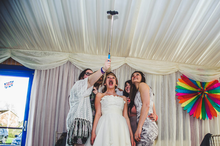 Selfie Bright Multicolour DIY Skater Village Hall Herefordshire Wedding http://www.robfarrellphotography.co.uk/