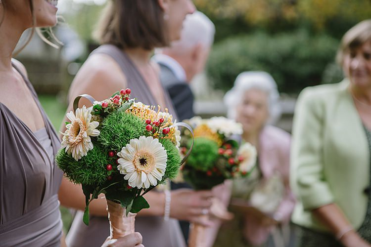 Gerbera Green Berries Eearth Bouquet Flowers Bridesmaid Relaxed Rustic Autumn Barn Wedding http://karenflowerphotography.com/