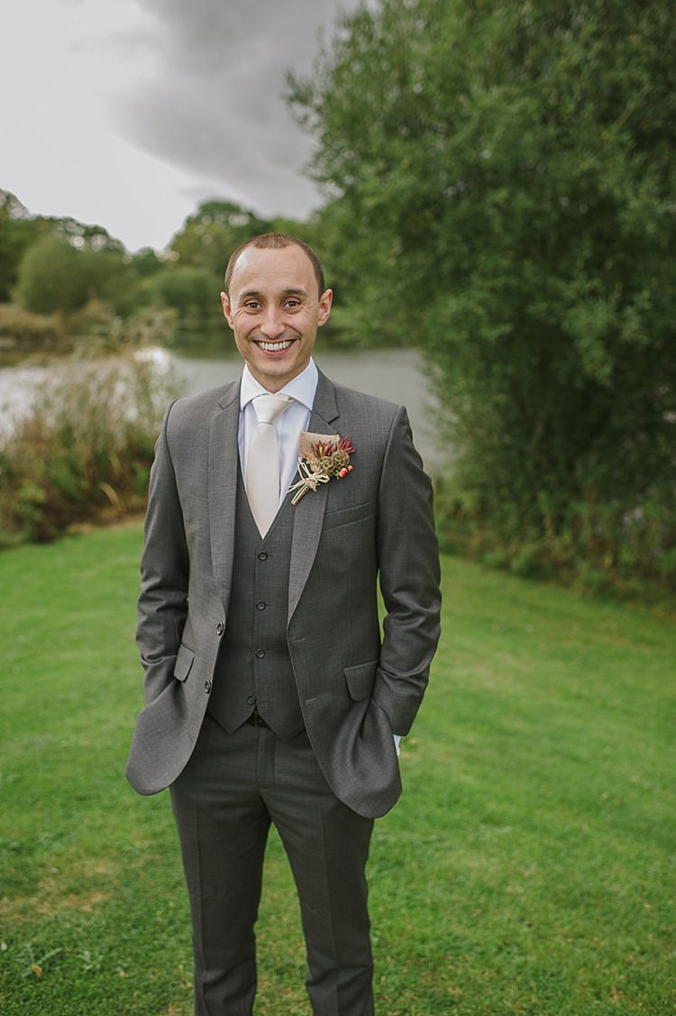 Grey Suit Groom A Suit That Fits Relaxed Rustic Autumn Barn Wedding http://karenflowerphotography.com/