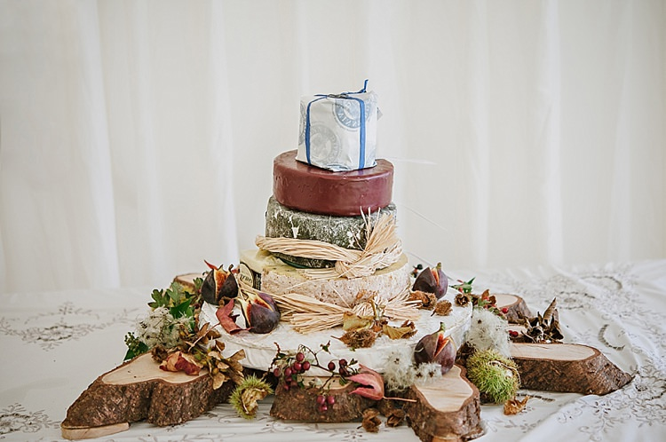 Cheese Stack Tower Cake Relaxed Rustic Autumn Barn Wedding http://karenflowerphotography.com/