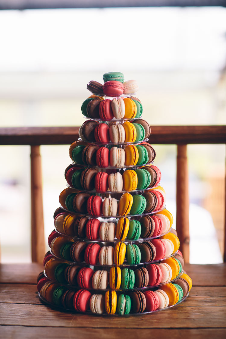 Rainbow Colourful Macaron Cake Tower Cotswolds Barn Laid Back Stylish Wedding http://albertpalmerphotography.com/