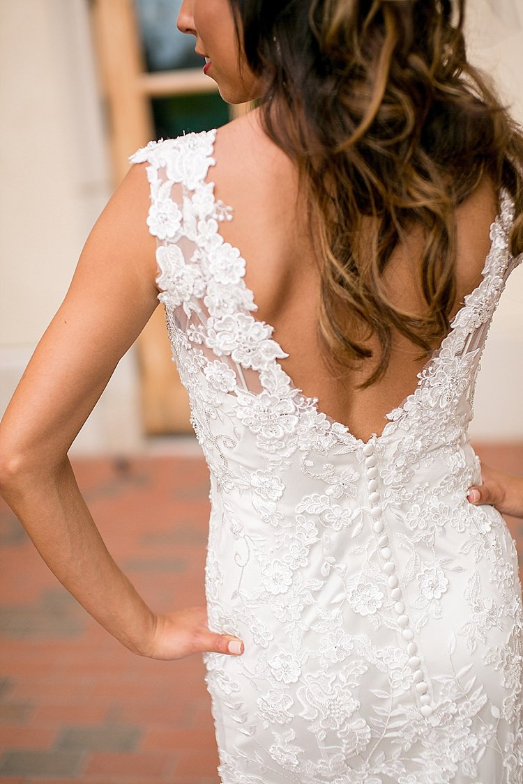 Lace Dress Low Back Bride Bridal Buttons Classic Red Winery Wedding Wisconsin http://www.jeanninemarie.com/