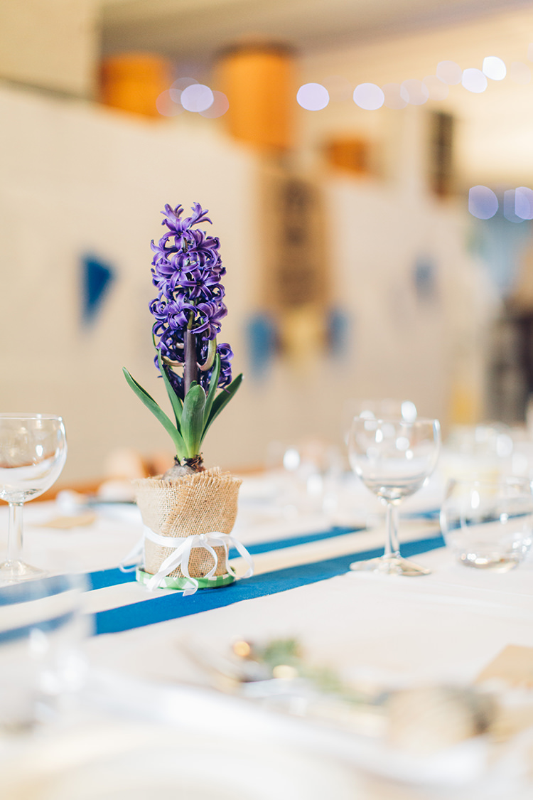 Potted Plan Bulbs Hessian Centrepiece Flowers Tables Spring Chilled DIY Beach Front Cafe Cornwall Yellow Blue Wedding http://missgen.com/