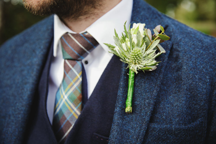Thistle Buttonhole Groom Natural Country Pub White Wedding http://www.gemmawilliamsphotography.co.uk/