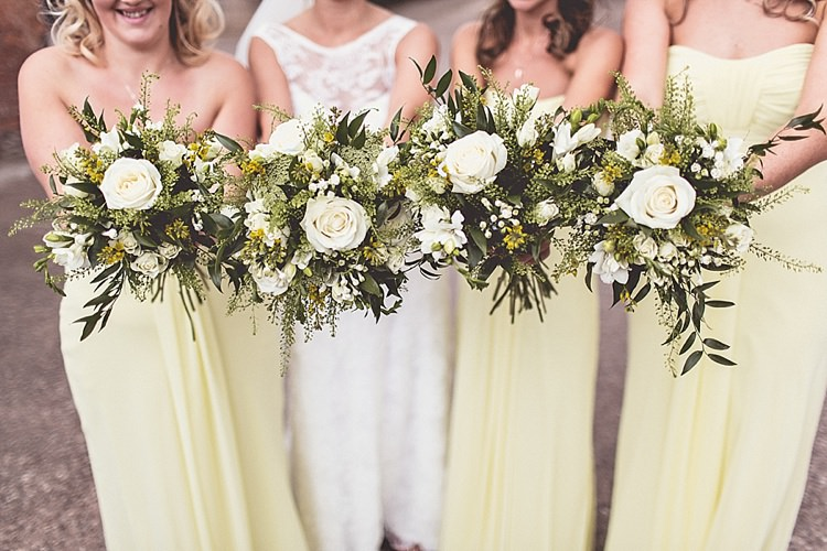 White Green Yellow Bouquets Bridesmaid Bride Bridal Flowers Rural Rustic Relaxed Barn Wedding http://annaclarkephotography.com/