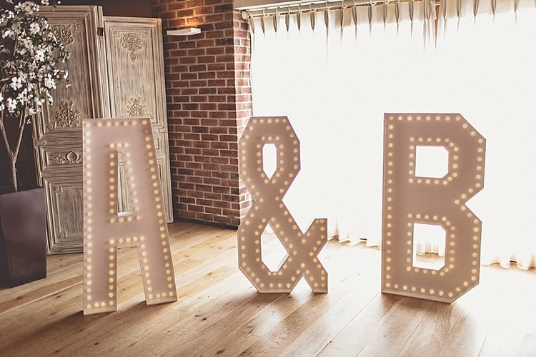 Letter Lights Rural Rustic Relaxed Barn Wedding http://annaclarkephotography.com/