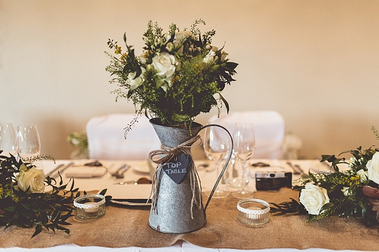 Jug Flowers Rural Rustic Relaxed Barn Wedding http://annaclarkephotography.com/