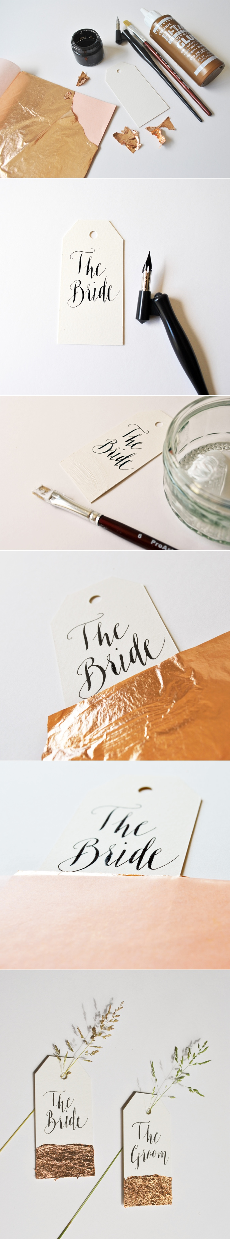 "Modern calligraphy tutorial copper ""dipped wedding place"