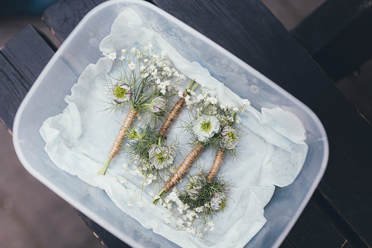Baby Breath Gypsophia Buttonholes Relaxed Pretty Picnic Park London Wedding http://missgen.com/