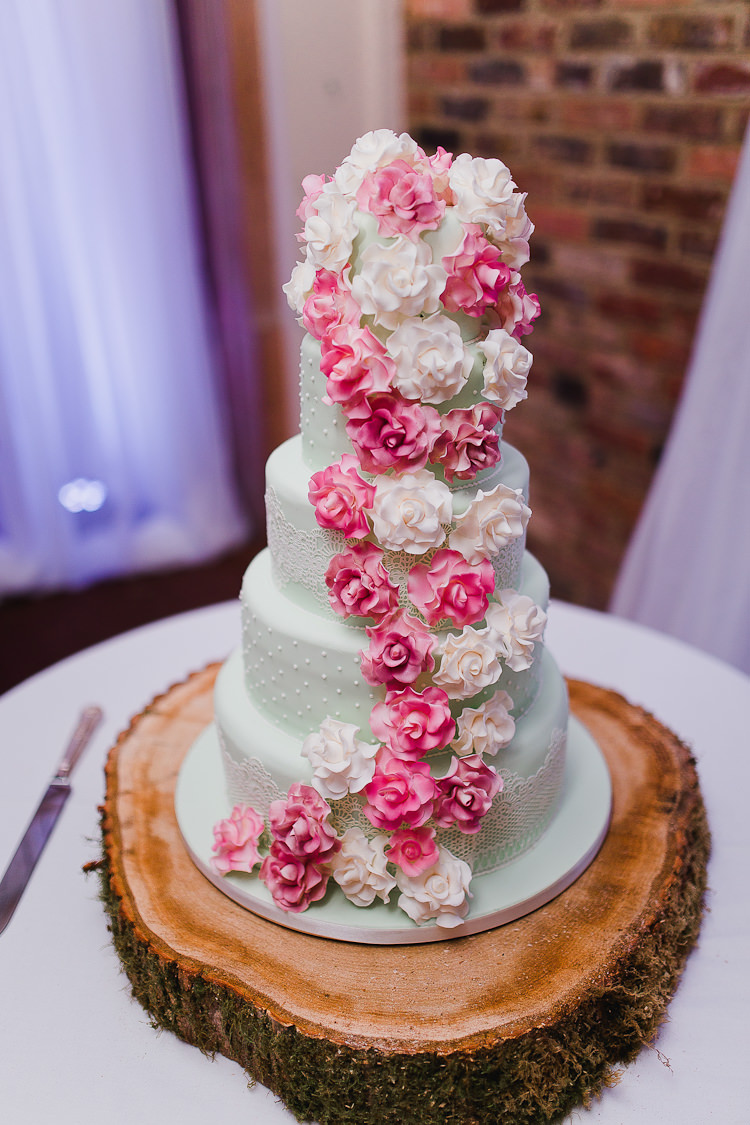 Flower Cake Floral Log Stand Tweed Bow Ties Fresh Country Pink Green Wedding http://www.whitestagweddings.com/