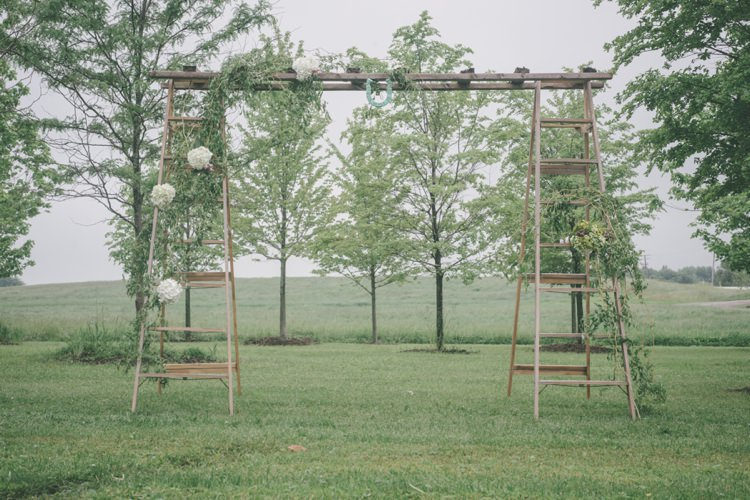 Ladder Flowers Ceremony Arch Backdrop Vintage Bohemian Red Barn Wedding Illinois http://www.ronirosephotography.com/