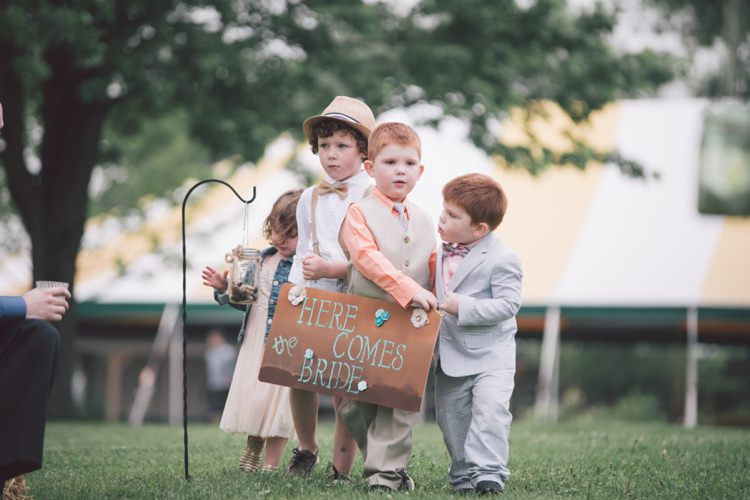 Here Comes The Bride Sign Flower Girl Page Boy Vintage Bohemian Red Barn Wedding Illinois http://www.ronirosephotography.com/