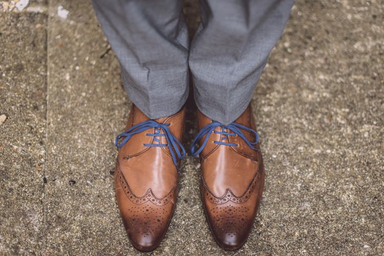 Tan Shoes Blue Laces Groom Masculine Simple Rustic Pub Wedding http://www.neilwilliamshaw.co.uk/