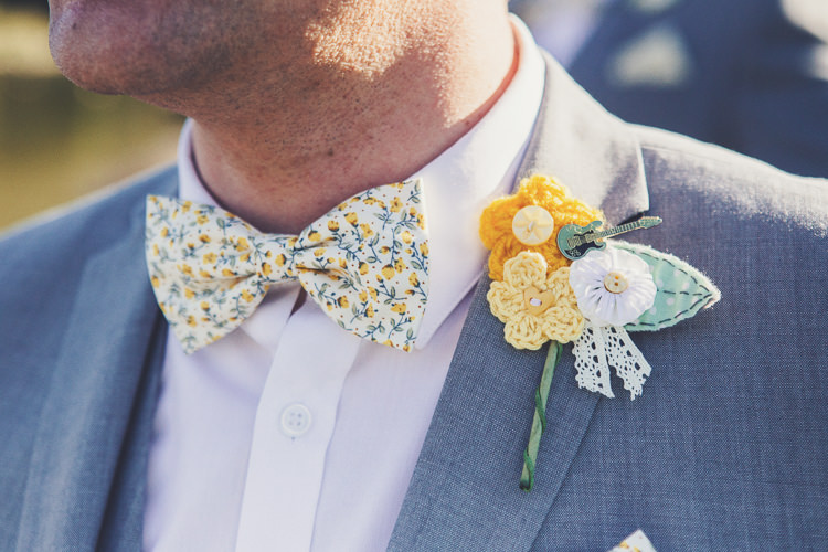 Crochet Buttonhole Pin Boutineer Groom Quirky Relaxed Yellow Country Wedding http://www.mr-and-mrs-wedding-photography.co.uk/