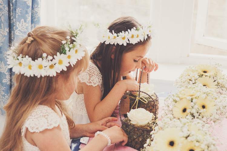 Flower Girls Daisy Crowns Quirky Relaxed Yellow Country Wedding http://www.mr-and-mrs-wedding-photography.co.uk/