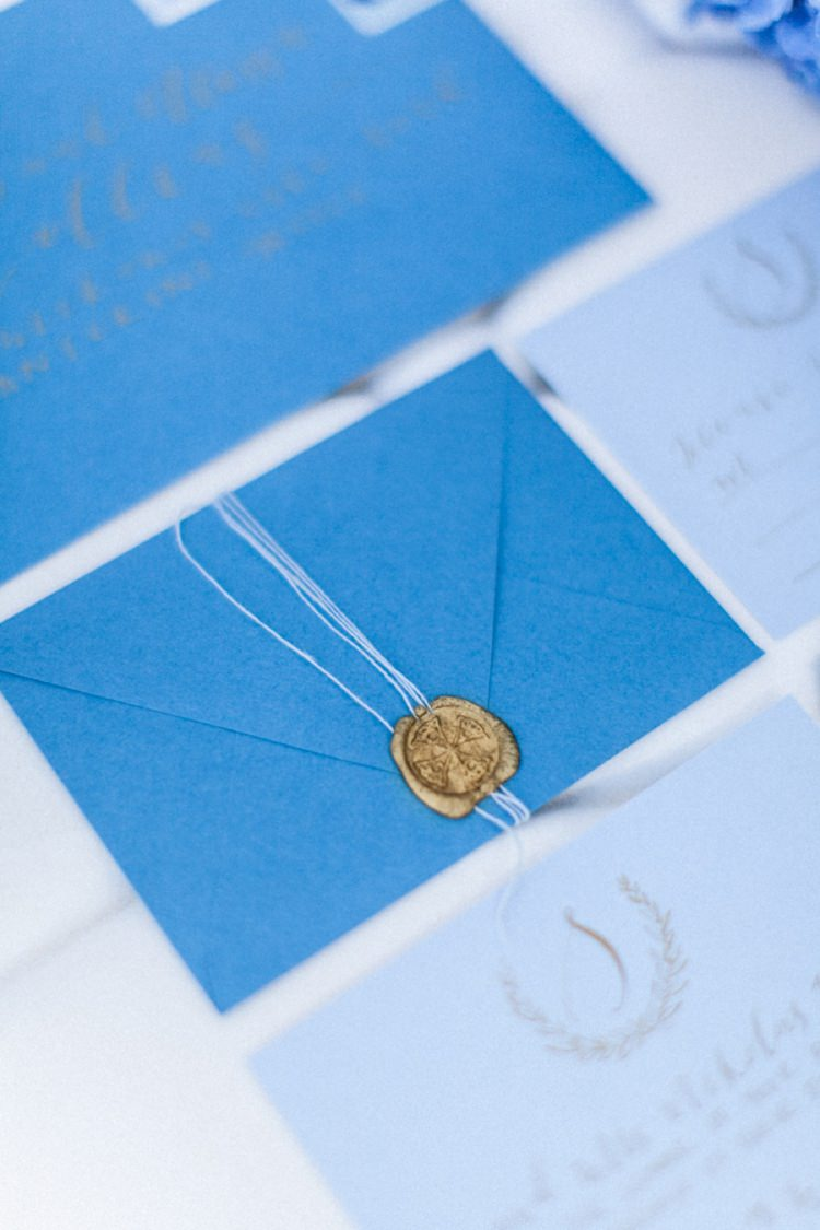 Stationery Invitations Paper Goods Wedding Calligraphy Gold Wax Seal Bohemian Blue White Santorini Engagement http://www.robertafacchini.com/