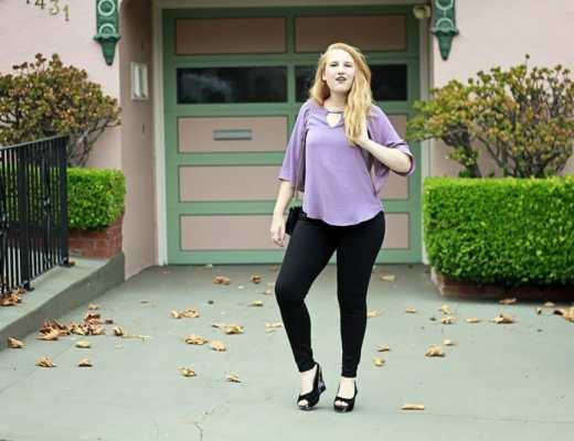Le Chateau Purple blouse and plus size jeggings