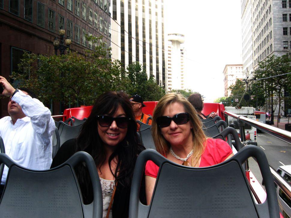 My auntie and I on a hop-on, hop-off bus in San Francisco