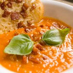 Tomato Basil and Bacon Soup with Bacon Parmesan Crisp