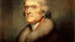 A reproduction of an 1805 Rembrant Peele portrait depicting Thomas Jefferson.