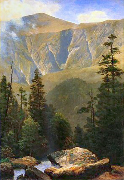 Mount Washington and Huntington Ravine from Thompson Falls in Pinkham Notch by Albert Bierstadt