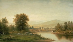 River Scene with Mountains and Cows by Charles Wilson Knapp