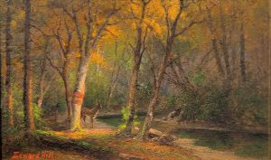 Deer Near a Brook by Edward Hill