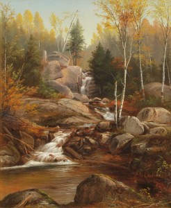 Artist Falls and Brook in Autumn by Benjamin Champney