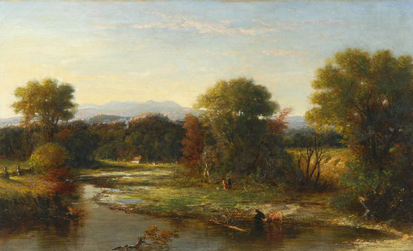 Franconia Mountains from the Pemigewasset River at West Campton by George Loring Brown