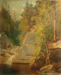 Fishing in Merrill's Pool, Franconia Notch by Thomas Hill