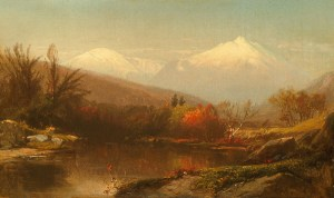 Mount Washington and Mount Madison from the Androscoggin River, Shelburne by William Hart