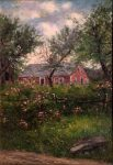 Old Farmhouse with Cinnamon Roses by Frank Henry Shapleigh