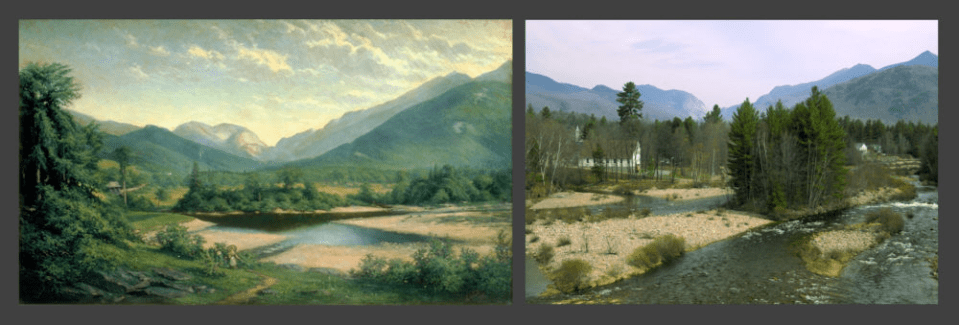 Franconia Notch by George Albert Frost (left);  Franconia Notch in 2004 (right)