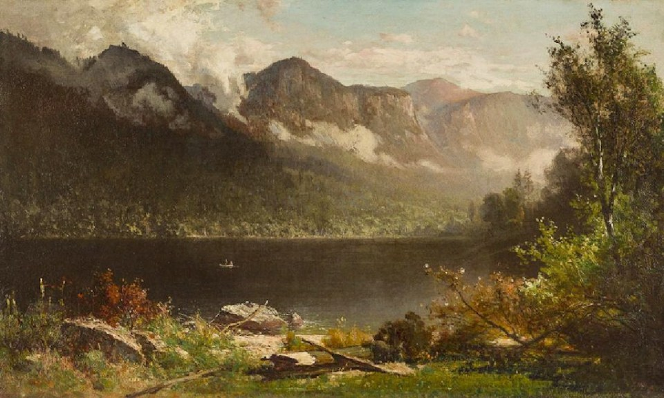 Eagle Cliff and Mount Lafayette from Echo Lake by Thomas Hill