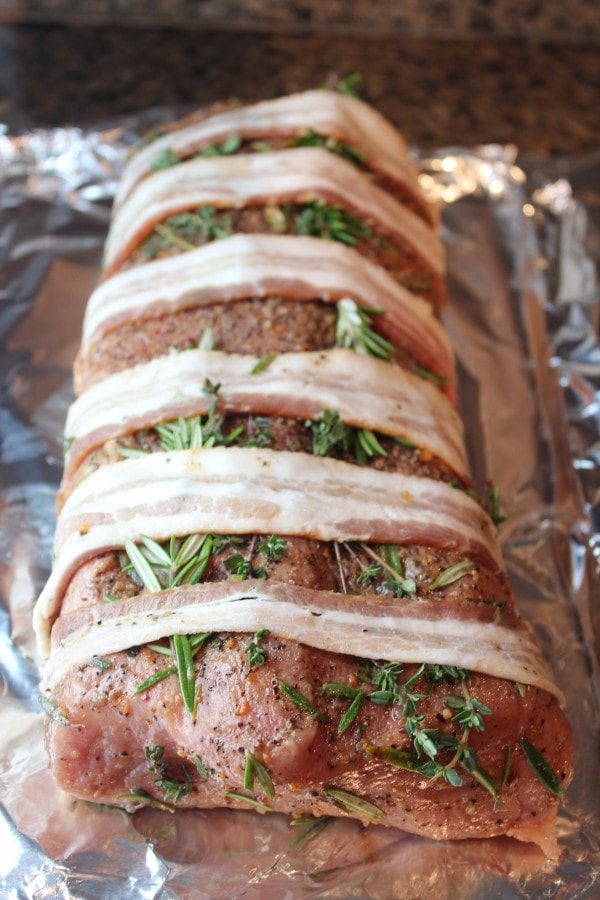 Paleo Herb, Garlic and Bacon Pork Loin