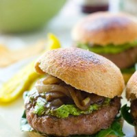Turkey Burgers with Whipped Spinach Feta + Balsamic Caramelized Onions
