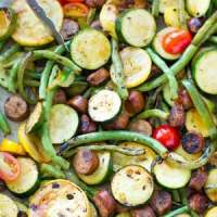 Marinated Grilled Summer Veggies + Sausage