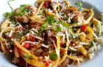 Zucchini and Summer Squash Pasta with Balsamic Mushrooms and Tomatoes