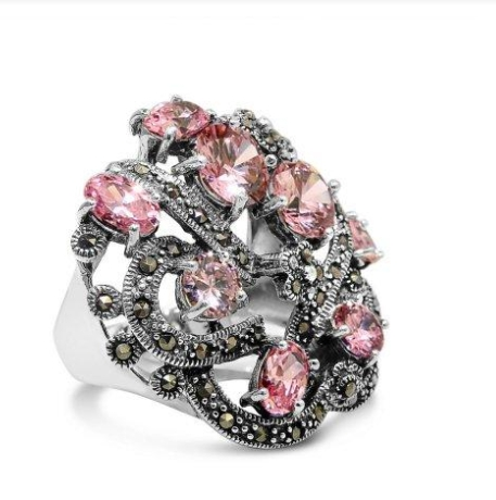 Pink Beautiful Marcasite Engagement Rings You Should Gift to Your Special One003