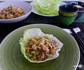 San choy bow: succulent minced pork in lettuce cups