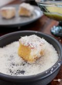 Mango, white chocolate and lime lamingtons