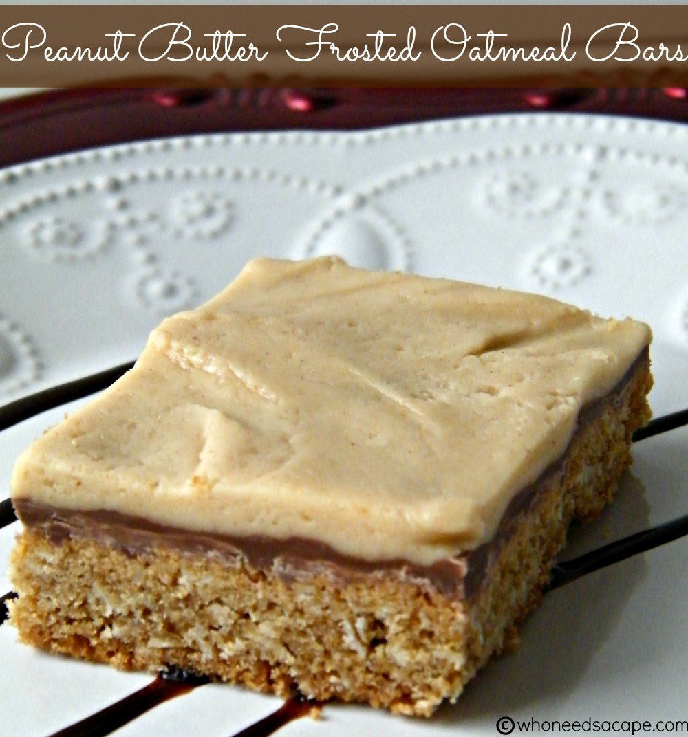 Peanut Butter Frosted Oatmeal Bars - Who Needs A Cape?