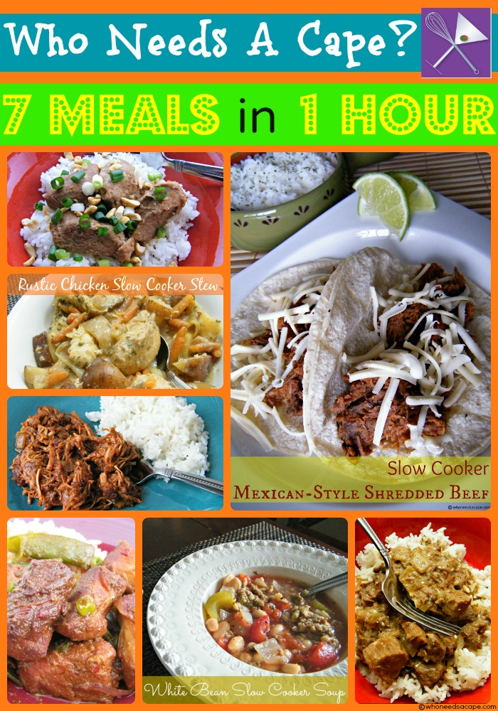 40 Meals in 4 Hours Crockpot Slow Cooker Freezer - Who Needs A Cape?