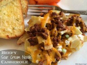 Beefy Sour Cream Noodle Casserole | Who Needs A Cape?