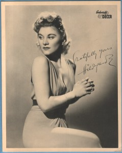 Hildegarde with autograph